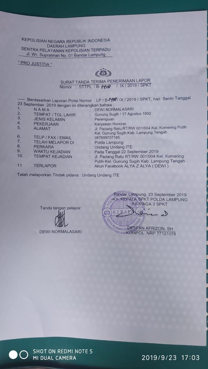 Dugaan Pencemaran Nama Baik Dan Pengancaman Di Akun Fb Alya Z Alya Dewi Laporkan D Ke Polda Lampung Media Faktanews