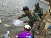 TNI Bersama DKPP Tebar Benih Ikan Untuk Rakyat di Lokasi TMMD 101 Nganjuk