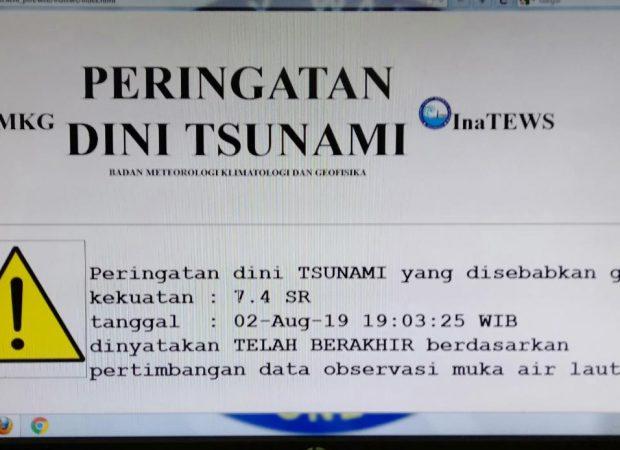 BMKG Akhiri Peringatan Dini Tsunami