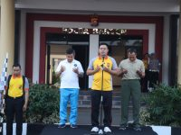 Peringati HUT Lalu-lintas Bhayangkara ke-64, Polda Banten Gelar Gerak jalan