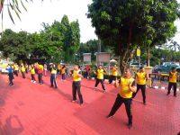 Jalin Keakraban, Personel Polsek Tanjung Duren Senam Bersama Bhayangkari